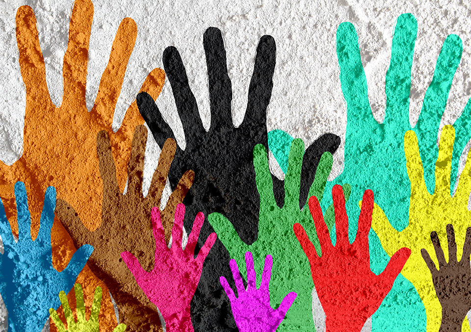 colorful silhouette hands on Cement wall texture background design
